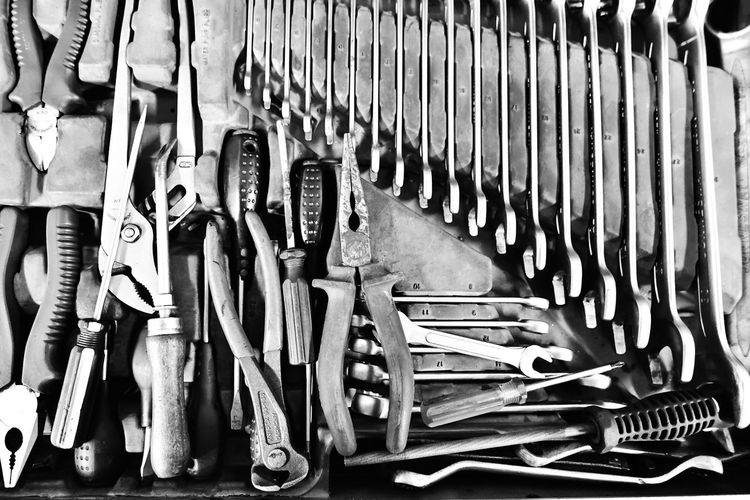 shining stainless steel tools in the toolbox in monochrome photo EyeEm Best Shots EyeEm Selects EyeEmNewHere Shine Shine Bright Like A Diamond  Toøl B&w Metal B&w Shine Close Up Close-up Day Indoors  Large Group Of Objects Machine Part Machine Tool Metal Metal Tools My Tools No People Shining Metal Steel Items Steel Structure  Toolbox Tools Work With Fun
