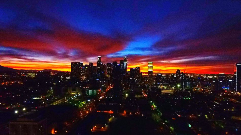 Citiesatnight Losangeles Southcentral Sunrise Blue Sky No People High Angle View Enjoying Life Hello World Check This Out Cityofangles City Life Architecture Cityscape Staygolden Day Horizon California Scenics California Dreaming Downtown Los Angeles Calikid Travel Red