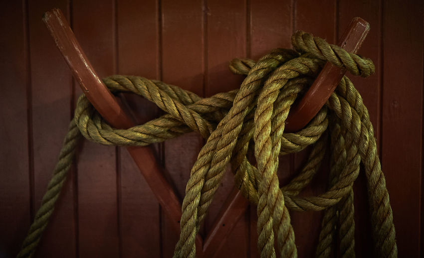 High angle view of rope  on wood