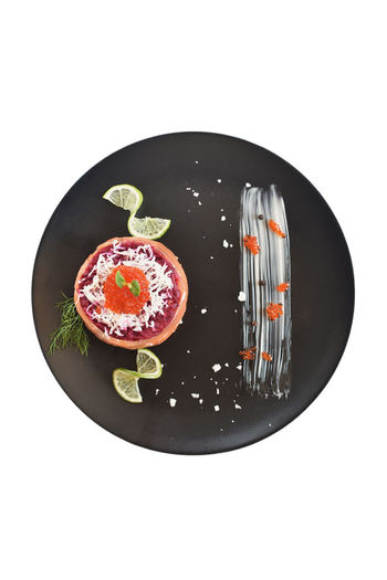 High angle view of plate against white background