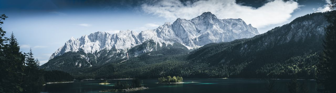 Dark Green Eibsee Zugspitze View Landcape Panorama Panoramic Landscape Panoramic Photography Tree Sky Water Plant Beauty In Nature Scenics - Nature Nature Mountain Day Cloud - Sky Lake Outdoors Architecture