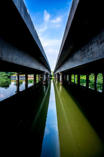 Under a bridge - somewhere along the Punggol Park Connector Bridge Over Water Under A Bridge Sky Architecture Built Structure Cloud - Sky Nature Diminishing Perspective No People Reflection Water Bridge - Man Made Structure Day Bridge Reflection Still Water Architectural Column Concrete Reflections In The Water