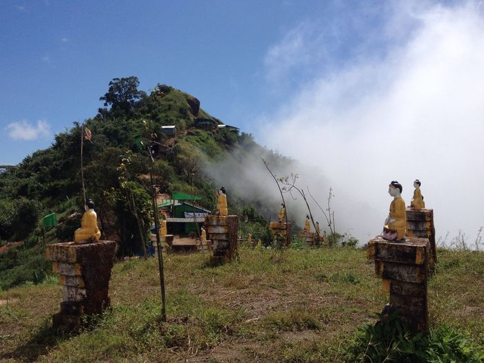 Goldenrock Buddhist Cemetery Fog Cloudporn Sunny Buddha Statue Bluesky Myanmar