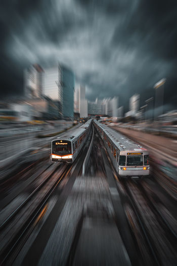 Blurred motion of trains in city