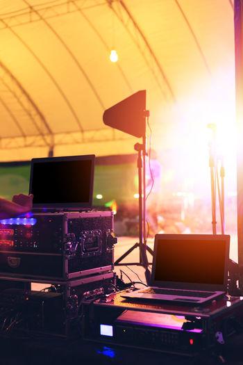 Electrical equipment in illuminated studio