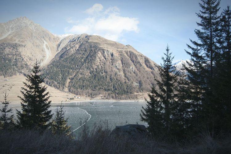Icelake Resia Lake Passo Resia Winter Wonderland
