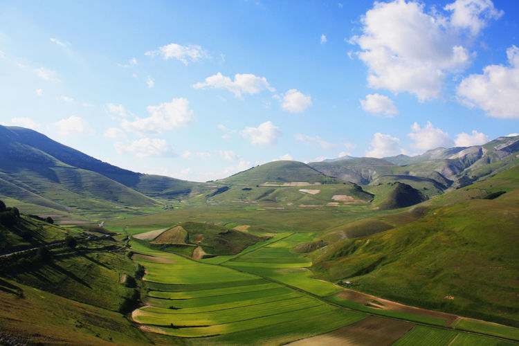 Agriculture Blue Sky Castelluccio Di Norcia Cloud - Sky Countryside EyeEm Gallery Eyem Best Shots Green Italy Landscape Mountain Nature Norcia Outdoors Patchwork Fields Patchwork Landscape Rural Scene Scenics Sky Tranquil Scene Tranquility Valley
