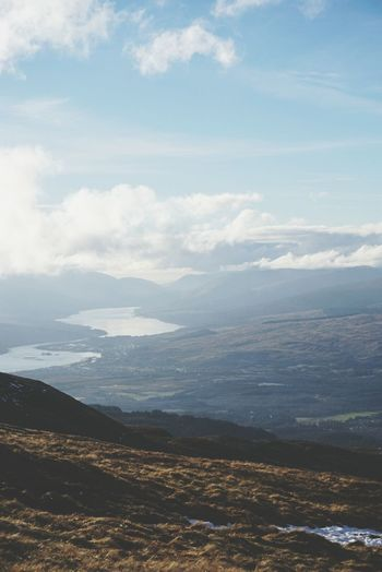 Skiing at Nevis Range resort, Scotland , in March, view down to Loch Eil. Sony A6000 Landscape Cloud - Sky Aerial View Nature Outdoors Physical Geography Beauty In Nature Mountain Sky No People Highlands