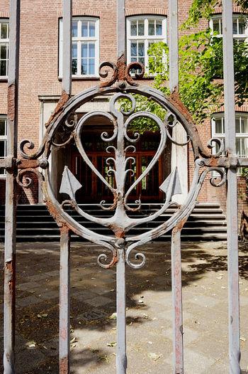 Closed metal door of building