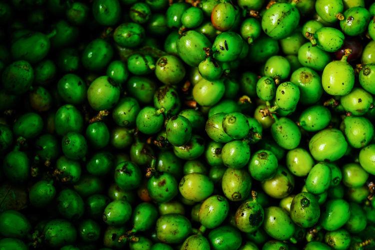 Full frame shot of green fruits for sale in market