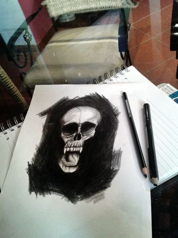 Drawing Skull Black & White Leticiatejero