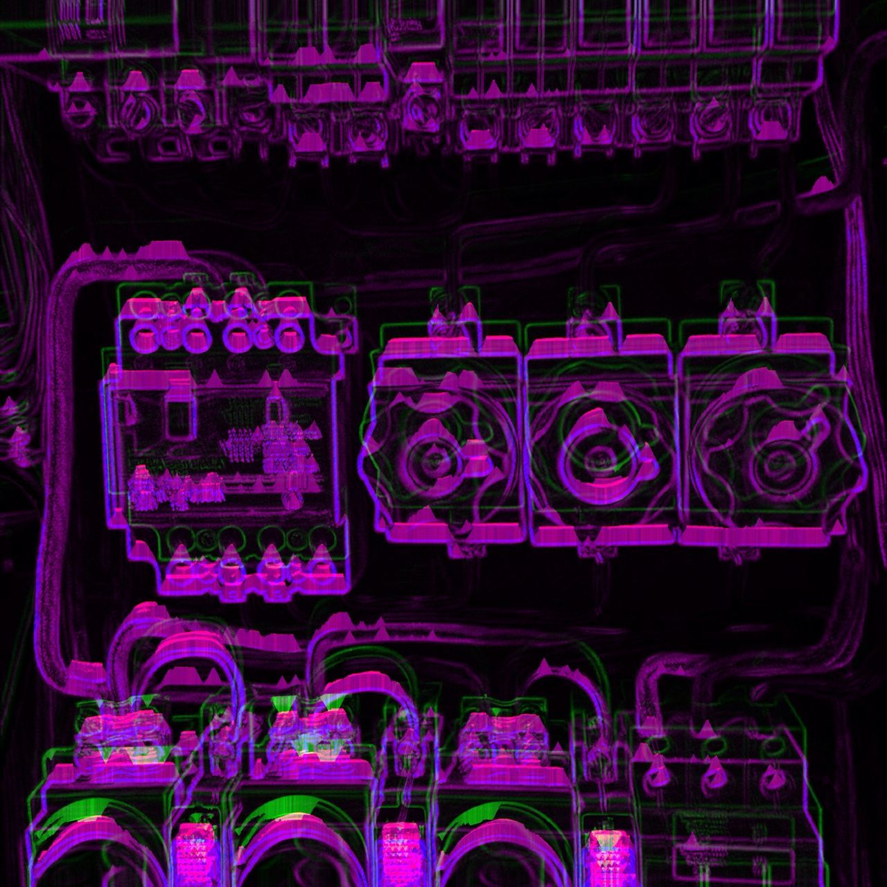Machine Interior Illuminated With Violet Light