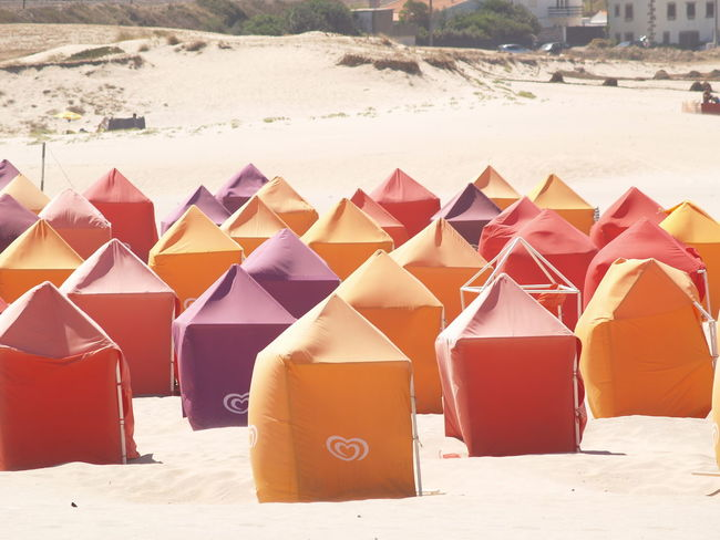 Photos of Moledo, Portugal 2006 Beach Beach Tent Beach Tents Color Multi Colored Sand Sandy Beach Tents