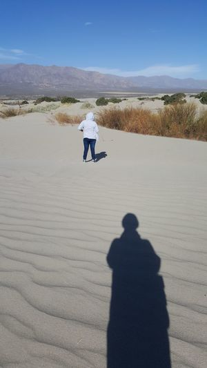Rear view of man on a desert against sky