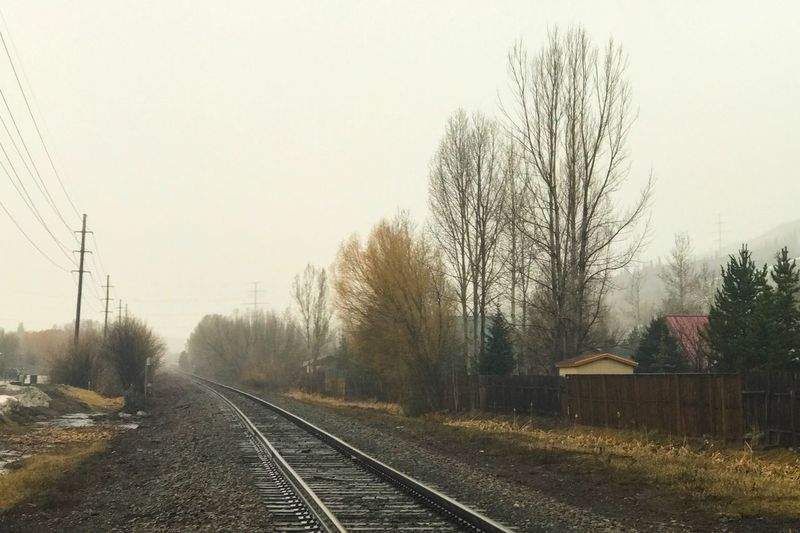 Railroad Track 🚂 Transportation Rainy Days No People The Way Forward Outdoors Landscape Fog Rail Transportation Beauty In Nature IPhoneography Tranquility Scenics Lifestyles
