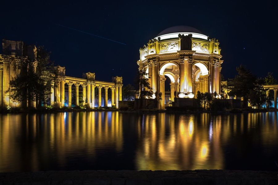 Night Architecture Built Structure Illuminated Building Exterior Arch Reflection History Travel Destinations Outdoors Architectural Column No People Sky San Francisco Palace Of Fine Arts California Travel Travel Photography