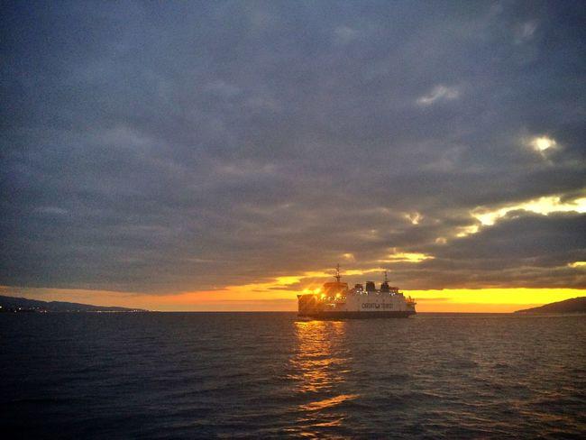 Taking Photos Starting A Trip Trip Ship Sea Sunset
