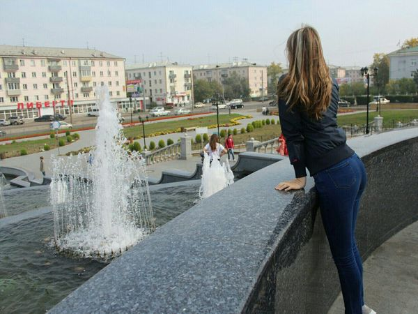 One Person Fountain Only Women One Woman Only Adults Only Women Outdoors Water Adult People Sky Day Human Body Part Time City Beauty Россия Russia Photographing Nature Flower Tree Blue Photography Themes Communication