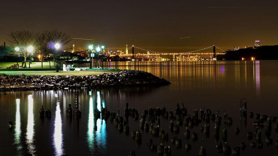 Yonkers Waterfront. Tripod Nightphotography Lights Riverbank Hudsonriver Gwbridge Sony A6000 Project365