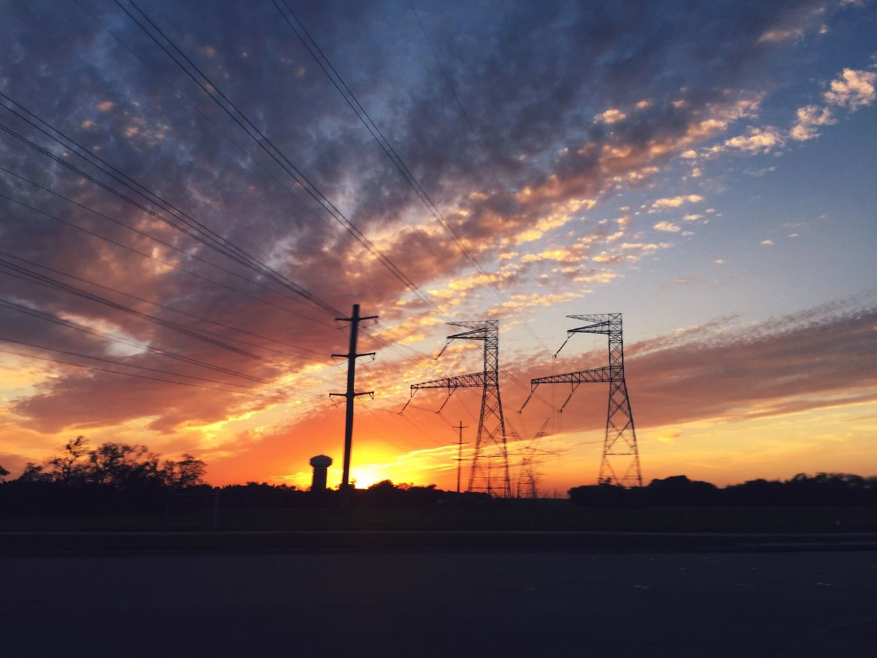 sunset, cable, electricity, electricity pylon, fuel and power generation, connection, silhouette, cloud - sky, sky, power supply, power line, technology, no people, nature, tranquility, outdoors, tree, landscape, beauty in nature, scenics, day