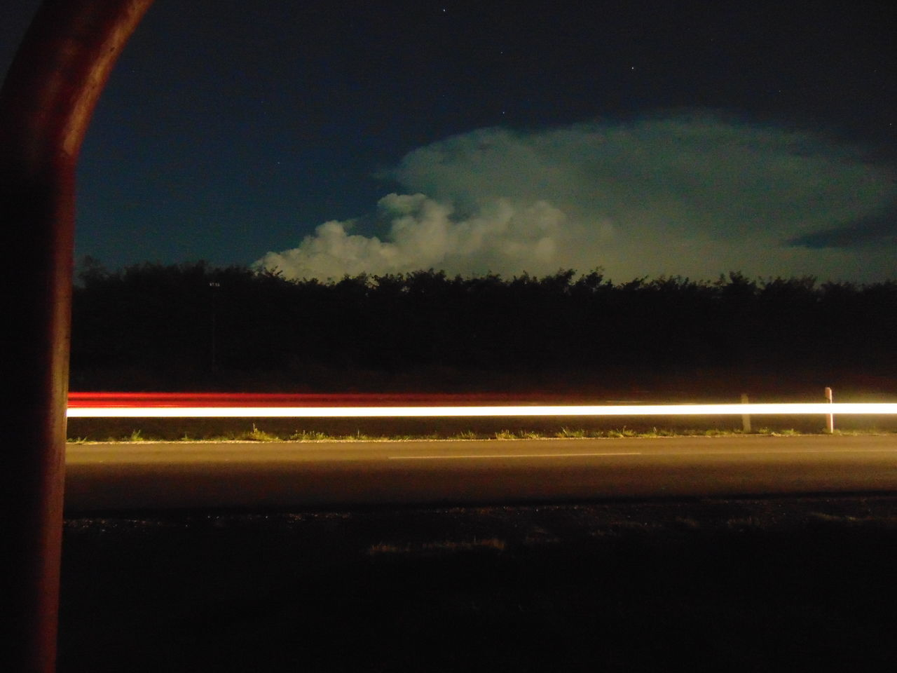 sky, cloud - sky, long exposure, transportation, speed, motion, night, illuminated, light trail, blurred motion, no people, nature, road, architecture, outdoors, city, mode of transportation, tree, dusk, street