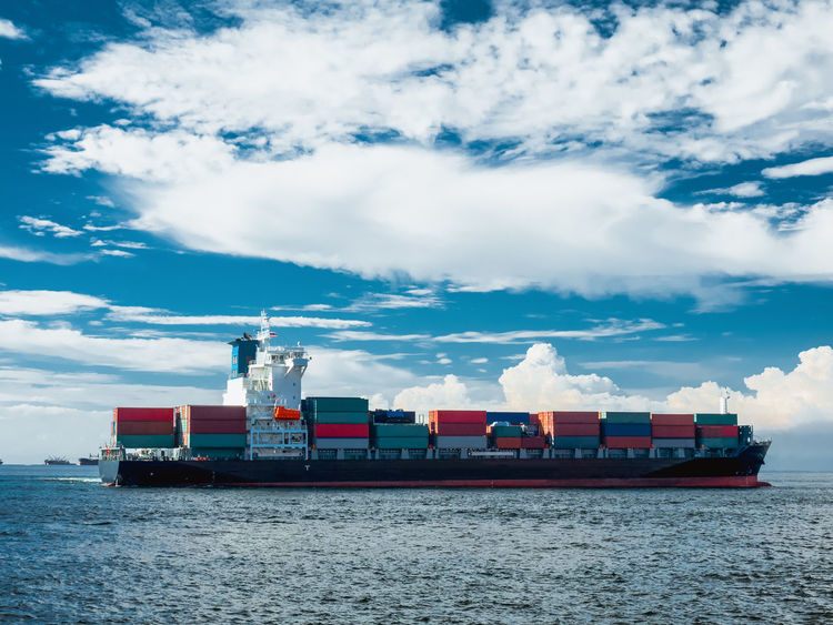 The container vessel departure from port of Thailand after completed loading. Industrial Next Thailand Arrival Berth Cargo Container Cloud - Sky Container Container Ship Departure Freight Transportation Industry Mode Of Transport Nature Nautical Vessel Outdoors Port Sea Ship Shipping  Shipyard Sky Speed Transportation Vessel
