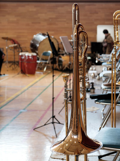 Close-Up Of Trombone On Stage
