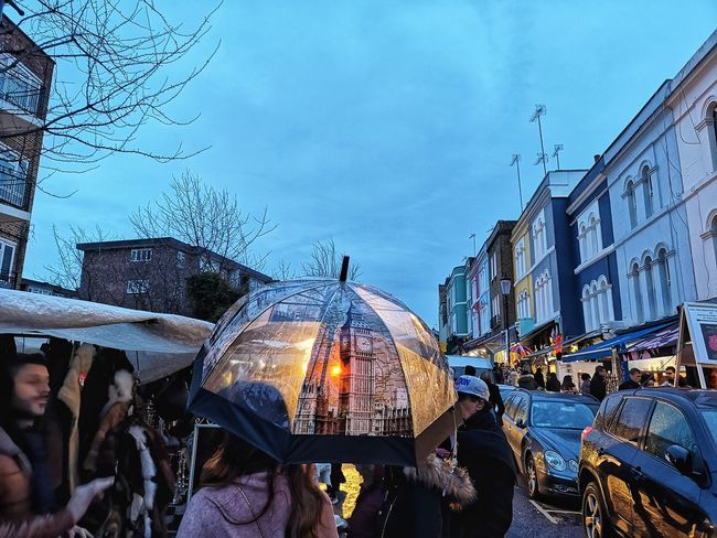 Portobello market Big Ben Winter Notting Hill Market People Crowd Crowded London Portobello Market Portobello Road LONDON❤ Huawei P20 Pro Huwaei Photography England Nightphotography City Sky Rainy Season RainDrop Wet Weather