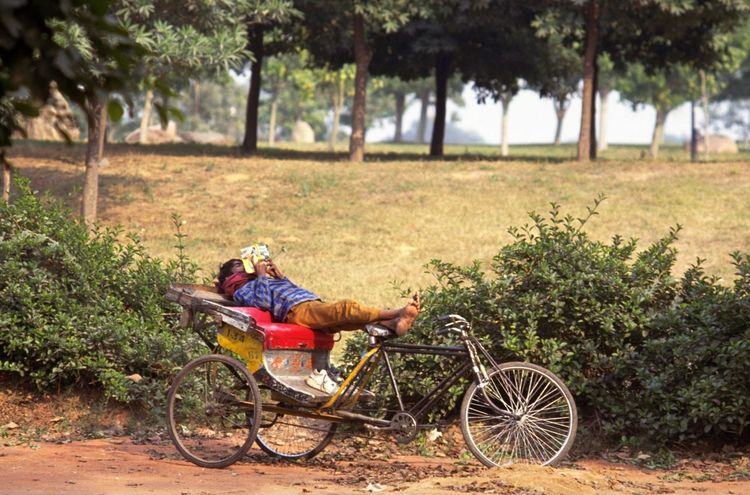 Waiting For Business. Cycle rickshaw driver relaxes at the side of the road and puts his feet up with a book, while waiting for customers. It's tiring work cycling overweight passengers around in the Indian heat, so it's not uncommon to see a young man kick off his shoes and put his feet up. The cycle rickshaw was built in the 1880s and first became popular in Singapore. By the 1930s, cycle rickshaws outnumbered pulled rickshaws and would eventually spread to every south and east Asian country by 1950. Transport yourself to India with this picture on your wall. http://pics.travelnotes.org/ ASIA Authentic Bare Feet Bicycle Cycle Rickshaw Cyclo Feet Up India Indian If Trees Could Speak Lazy Local Local Transport Live For The Story Michel Guntern One Person Reading Relaxing Rickshaw Rider Transportation Travel Travel Photography Travel Photos Travel Pics Let's Go. Together.