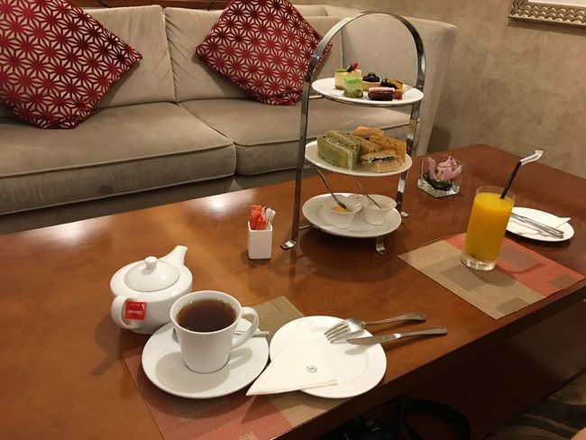 Executive Lounge Food And Drink Table Indoors  Coffee Cup Food Drink Plate Coffee - Drink Refreshment Restaurant Freshness High Angle View No People Sweet Food Dessert Breakfast Serving Size Ready-to-eat Fruit Healthy Eating