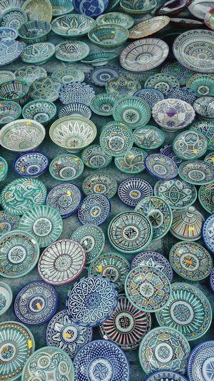 Full frame shot of bowls at market for sale