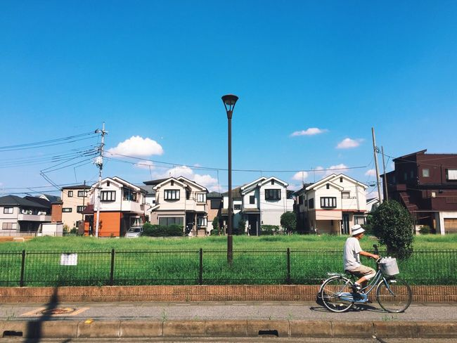Normal day in Koshigaya Bicycle Blue Clear Sky House First Eyeem Photo