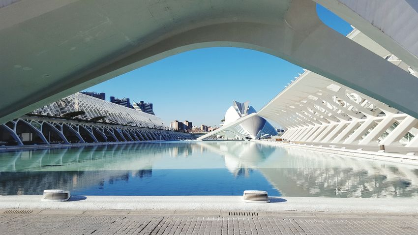 Valencia, Spain Architecture Water City Building Exterior Sky Built Structure Outdoors Cityscape Day No People Oceanografico Valencia Oceanografico Oceanographic Valencia Oceanographic Greatness In Nature Low Angle View Freshness Great Outdoors Scenics Clear Sky Greatview Cityscape Travel Destinations Great Day