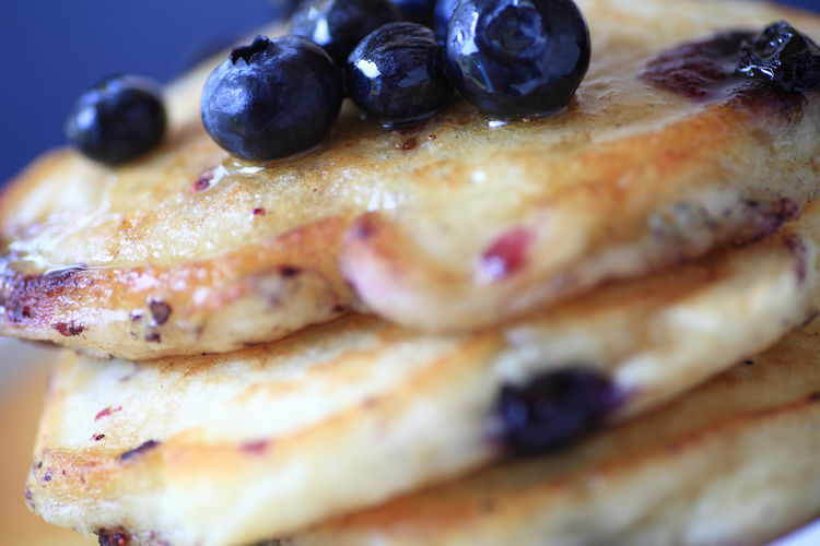 Fresh blueberry pancakes Breakfast Close-up Food Fresh Fruit Fruit Ingredient Home Cooking Homemade Food Indoors  Indulgence Meal Morning Natural Light Portion Ready-to-eat Serving Size Snack Sweet Food Syrup Tasty Temptation Textures