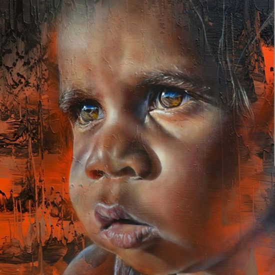 Beautiful spraypainted potrait of Indigenous Australian child at Pigeon Hole - Northern Territory