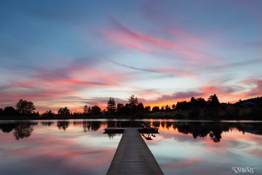 """""""Serenity"""" Lake View Reflection Water Sunset Sky Tranquil Scene Beauty In Nature Tranquility Scenics Lake Cloud - Sky Silhouette Spring Lake - Jefferson, Oregon Outdoors EyeEm Team Robert DuVernet Photography"""