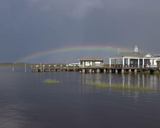 Rainbow Water Pier Nature Outdoors Tranquility Horizon Over Water Georgia United States Jekyll Island