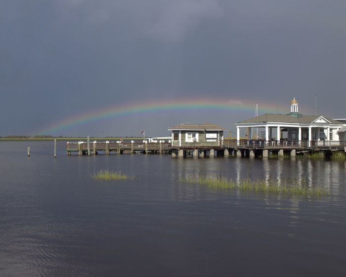 Rainbow Water Pier Nature Outdoors Tranquility Horizon Over Water Georgia United States Jekyll Island