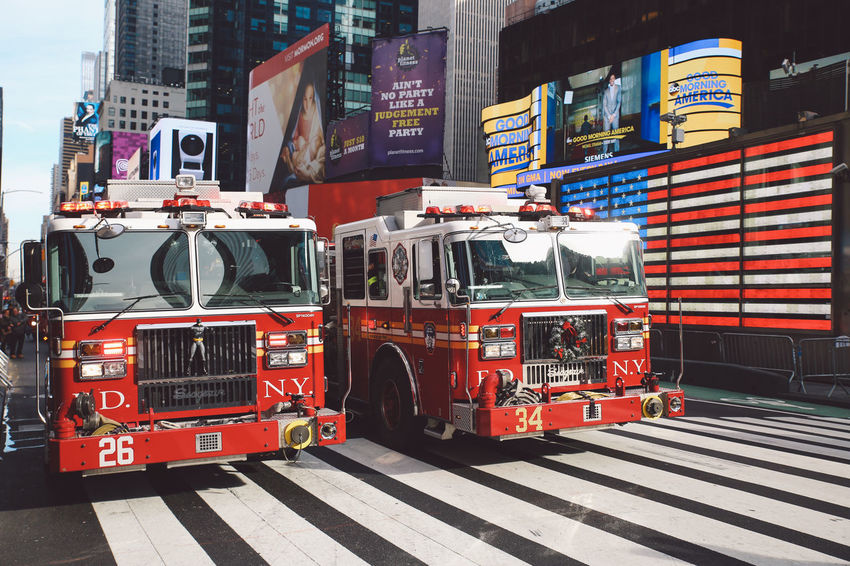 Architecture City Day Firefighters Fireman Firetruck Manhattan New York New York City No People Outdoors Road TimesSquare