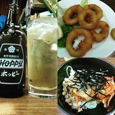 キムチ納豆とイカリングでホッピー♪ Drinking Hoppy キンミヤ 酒場 揚げ物love部