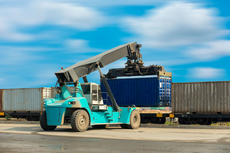 Forklift Box Business Container Container Ship Forklift Heavy Industrial Industry International Lifting Logistics Machinery Shipping Containers Transport Transportation Export Import Manufacturing Equipment Network Shiping Shipping Yard Supply Train Yard