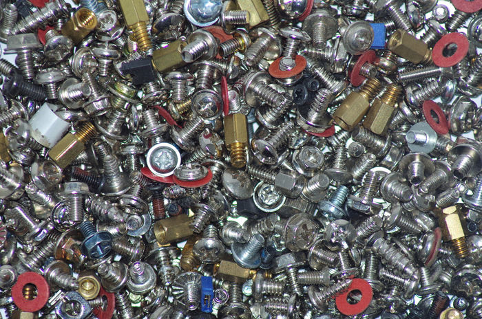 a bunch of pc bolts nuts and screws Abundance Aluminum Backgrounds Bolt Close-up Collection Full Frame Heap High Angle View Indoors  Industry Large Group Of Objects Metal No People Nut - Fastener Nuts_about_birds Screws