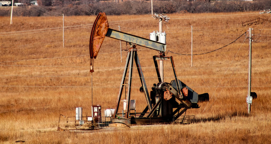 View of oil pump on field