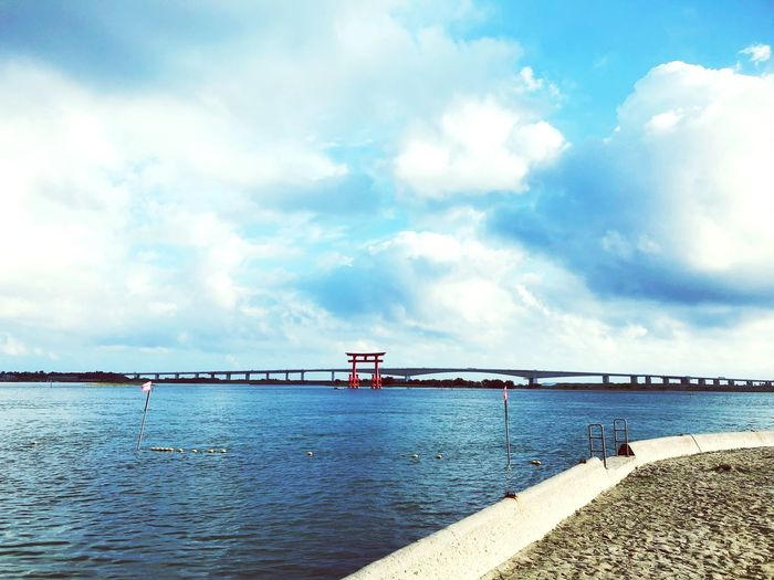 Water Sky Cloud - Sky Sea Beauty In Nature Day Beach Nature Scenics - Nature Built Structure Land No People Bridge