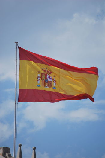 Barcelona Barcelona, Spain Catalonia Catalunya Day Flag Flags In The Wind  Low Angle View No People Outdoors Patriotism Red Sky SPAIN Unity Waving Yellow