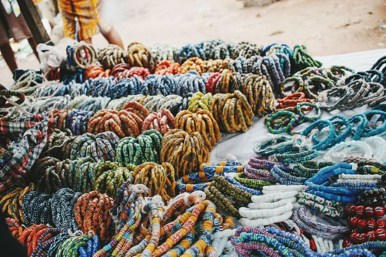 Full frame shot of colorful bracelet for sale