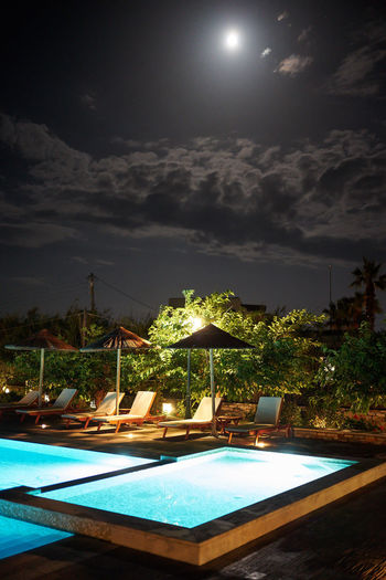 Naxos Night Swimming Pool Pool Sky Water Nature Cloud - Sky Night No People Moon Tourist Resort Illuminated Poolside Scenics - Nature Beauty In Nature Outdoors Tranquility Absence Lighting Equipment Tranquil Scene Luxury Full Moon Hot Tub Moonlight Naxos, Greece Nightphotography