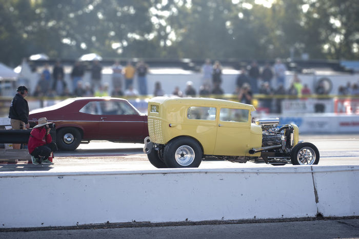 Byron Dragway Drag Race Car Day Land Vehicle Large Crowd Of People Old Car Outdoors People Yellow