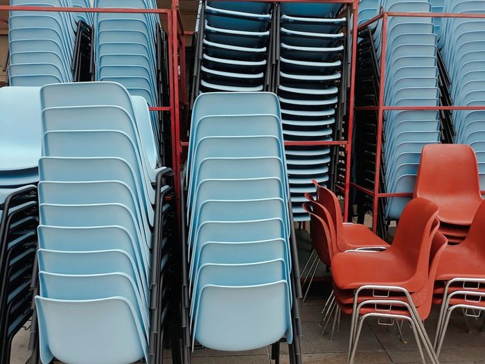 Stacked chairs arranged