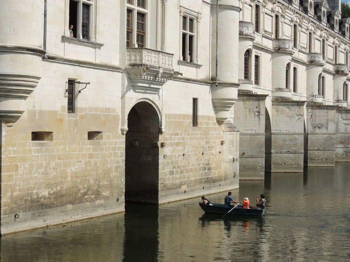 Chenonceau Chenonceaux Chenonceau Castle Loire Loire Valley Loire River France Nautical Vessel Transportation Water Mode Of Transportation Architecture Built Structure Waterfront Arch Building Exterior Travel Day Real People Outdoors Canal Nature Group Of People Reflection Building